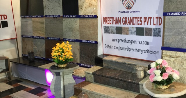 """Preetham Granites Pvt Ltd Our Stall at one of the largest international stone exhibitions """"STONA -2016"""" in Bangalore"""